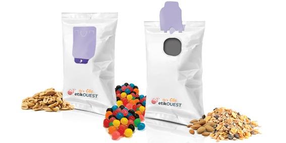 etik ouest packaging étiquette adhésive sachet alimentaire FLOW-PACK-Up'n BAG clic / labels open and reclosed