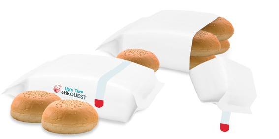 Etik OUEST packaging - étiquette adhésive sachet alimentaire FLOW PACK-Up'n TURN etik ouest / easy reclosure