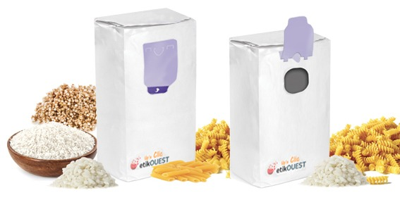 etik ouest packaging ouverture fermeture packagingFOND PLAT-UP'N BAG CLIC / labels open and reclosed