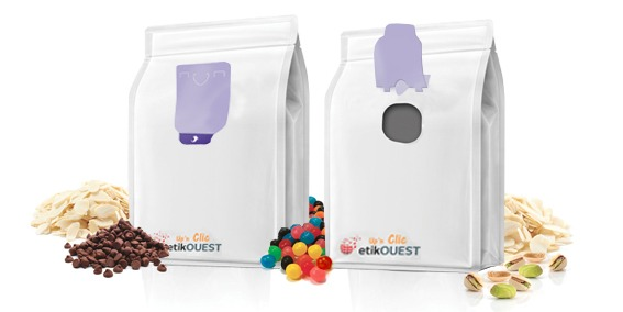 Etik OUEST packaging - emballage souple ouverture facile QUATTROSEAL-Up'n Bag Clic / labels open and reclosed