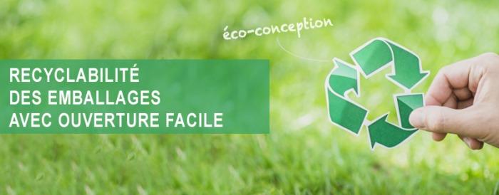 recyclabilité des emballages avec ouverture facile, emballage mono-matériaux, emballage recyclable, Etik Ouest Packaging