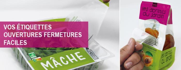 étiquettes ouvertures fermetures-faciles Etik Ouest Packaging, étiquette ouverture facile
