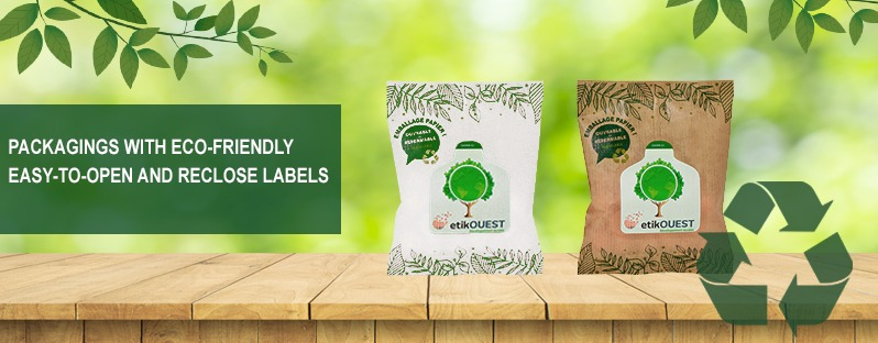 Packagings with eco-friendly easy-to-open and reclose labels